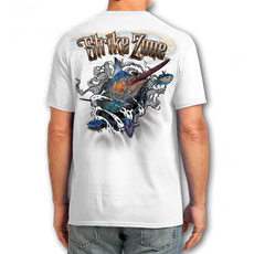 "Back (White) LOOKS AND FEELS JUST LIKE COTTON! This shirt is truly awesome, featuring Jason Mathias's fine art rendition of a lit up Marlin busting right out of the shirt after a school of tuna is sure to catch the eye and the fish. fine art design is sublimated onto our super soft cotton feel technology that allows for practical everyday use and activities.   Jason Mathias Strike Zone Cotton Feel short sleeve shirt! Advanced cotton feel technology offers performance qualities in a top quality shirt that looks and fees just like a soft cotton. So comfortable that you feel like you're not even wearing a shirt! Helps keep you cooler and drier which makes it a must when doing what you do best! The Strike Zone Cotton Feel short sleeve is super comfortable, snag free and practical for everyday activities. This fabric is powered by moisture wicking technology which will keep you cooler in the summer and warmer in the winter.   Jersey knit Moisture wicking and antimicrobial properties Snag resistant Active fit Seamed single-needle 3/4"" collar Double-needle sleeve and bottom hems Quarter-turned to eliminate center crease 5 oz/ 100% poly  Made In America Sizing: Small though 3XL Super jumbo back sublimation art print: 22""x22"""