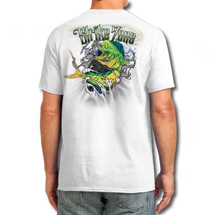 "Back (White) LOOKS AND FEELS JUST LIKE COTTON! This shirt is truly awesome, featuring Jason Mathias's fine art rendition of a lit up Mahi Mahi, Dorado or Dolphin busting right out of the shirt after a school of tuna is sure to catch the eye and the fish. fine art design is sublimated onto our super soft cotton feel technology that allows for practical everyday use and activities.   Jason Mathias Strike Zone Cotton Feel short sleeve shirt! Advanced cotton feel technology offers performance qualities in a top quality shirt that looks and fees just like a soft cotton. So comfortable that you feel like you're not even wearing a shirt! Helps keep you cooler and drier which makes it a must when doing what you do best! The Strike Zone Cotton Feel short sleeve is super comfortable, snag free and practical for everyday activities. This fabric is powered by moisture wicking technology which will keep you cooler in the summer and warmer in the winter.   Jersey knit Moisture wicking and antimicrobial properties Snag resistant Active fit Seamed single-needle 3/4"" collar Double-needle sleeve and bottom hems Quarter-turned to eliminate center crease 5 oz/ 100% poly  Made In America Sizing: Small though 3XL Super jumbo back sublimation art print: 22""x22"""