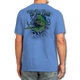 "Back (Blue) LOOKS AND FEELS JUST LIKE COTTON! This shirt is truly awesome, featuring Jason Mathias's fine art rendition of a lit up Mahi Mahi, Dorado or Dolphin busting right out of the shirt after a school of tuna is sure to catch the eye and the fish. fine art design is sublimated onto our super soft cotton feel technology that allows for practical everyday use and activities.   Jason Mathias Strike Zone Cotton Feel short sleeve shirt! Advanced cotton feel technology offers performance qualities in a top quality shirt that looks and fees just like a soft cotton. So comfortable that you feel like you're not even wearing a shirt! Helps keep you cooler and drier which makes it a must when doing what you do best! The Strike Zone Cotton Feel short sleeve is super comfortable, snag free and practical for everyday activities. This fabric is powered by moisture wicking technology which will keep you cooler in the summer and warmer in the winter.   Jersey knit Moisture wicking and antimicrobial properties Snag resistant Active fit Seamed single-needle 3/4"" collar Double-needle sleeve and bottom hems Quarter-turned to eliminate center crease 5 oz/ 100% poly  Made In America Sizing: Small though 3XL Super jumbo back sublimation art print: 22""x22"""
