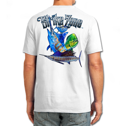 "Back (White) LOOKS AND FEELS JUST LIKE COTTON! This shirt is truly awesome, featuring Jason Mathias's fine art rendition of a Marlin, Sailfish, Mahi and Tuna busting right out of the shirt after a school of tuna is sure to catch the eye and the fish. fine art design is sublimated onto our super soft cotton feel technology that allows for practical everyday use and activities.   Jason Mathias Strike Zone Cotton Feel short sleeve shirt! Advanced cotton feel technology offers performance qualities in a top quality shirt that looks and fees just like a soft cotton. So comfortable that you feel like you're not even wearing a shirt! Helps keep you cooler and drier which makes it a must when doing what you do best! The Strike Zone Cotton Feel short sleeve is super comfortable, snag free and practical for everyday activities. This fabric is powered by moisture wicking technology which will keep you cooler in the summer and warmer in the winter.   Jersey knit Moisture wicking and antimicrobial properties Snag resistant Active fit Seamed single-needle 3/4"" collar Double-needle sleeve and bottom hems Quarter-turned to eliminate center crease 5 oz/ 100% poly  Made In America Sizing: Small though 3XL Super jumbo back sublimation art print: 22""x22"""