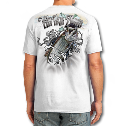 """Back (White) LOOKS AND FEELS JUST LIKE COTTON! This shirt is truly awesome, featuring Jason Mathias's fine art rendition of a Tarpon busting right out of the shirt is sure to catch the eye and the fish. fine art design is sublimated onto our super soft cotton feel technology that allows for practical everyday use and activities.   Jason Mathias Strike Zone Cotton Feel short sleeve shirt! Advanced cotton feel technology offers performance qualities in a top quality shirt that looks and fees just like a soft cotton. So comfortable that you feel like you're not even wearing a shirt! Helps keep you cooler and drier which makes it a must when doing what you do best! The Strike Zone Cotton Feel short sleeve is super comfortable, snag free and practical for everyday activities. This fabric is powered by moisture wicking technology which will keep you cooler in the summer and warmer in the winter.   Jersey knit Moisture wicking and antimicrobial properties Snag resistant Active fit Seamed single-needle 3/4"""" collar Double-needle sleeve and bottom hems Quarter-turned to eliminate center crease 5 oz/ 100% poly  Made In America Sizing: Small though 3XL Super jumbo back sublimation art print: 22""""x22"""""""