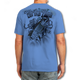 """Back (Blue) LOOKS AND FEELS JUST LIKE COTTON! This shirt is truly awesome, featuring Jason Mathias's fine art rendition of a Tarpon busting right out of the shirt is sure to catch the eye and the fish. fine art design is sublimated onto our super soft cotton feel technology that allows for practical everyday use and activities.   Jason Mathias Strike Zone Cotton Feel short sleeve shirt! Advanced cotton feel technology offers performance qualities in a top quality shirt that looks and fees just like a soft cotton. So comfortable that you feel like you're not even wearing a shirt! Helps keep you cooler and drier which makes it a must when doing what you do best! The Strike Zone Cotton Feel short sleeve is super comfortable, snag free and practical for everyday activities. This fabric is powered by moisture wicking technology which will keep you cooler in the summer and warmer in the winter.   Jersey knit Moisture wicking and antimicrobial properties Snag resistant Active fit Seamed single-needle 3/4"""" collar Double-needle sleeve and bottom hems Quarter-turned to eliminate center crease 5 oz/ 100% poly  Made In America Sizing: Small though 3XL Super jumbo back sublimation art print: 22""""x22"""""""
