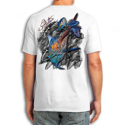 "Back (White) LOOKS AND FEELS JUST LIKE COTTON! This shirt is truly awesome, featuring Jason Mathias's fine art rendition of a lit up Blue Marlin ripping though a school of tuna is sure to catch the eye and the fish. fine art design is sublimated onto our super soft cotton feel technology that allows for practical everyday use and activities.   Jason Mathias Cotton Feel short sleeve shirt! Advanced cotton feel technology offers performance qualities in a top quality shirt that looks and fees just like a soft cotton. So comfortable that you feel like you're not even wearing a shirt! Helps keep you cooler and drier which makes it a must when doing what you do best! The Jason Mathias Cotton Feel short sleeve is super comfortable, snag free and practical for everyday activities. This fabric is powered by moisture wicking technology which will keep you cooler in the summer and warmer in the winter.   Jersey knit Moisture wicking and antimicrobial properties Snag resistant Active fit Seamed single-needle 3/4"" collar Double-needle sleeve and bottom hems Quarter-turned to eliminate center crease 5 oz/ 100% poly  Made In America Sizing: Small though 3XL Super jumbo back sublimation art print: 22""x22"""
