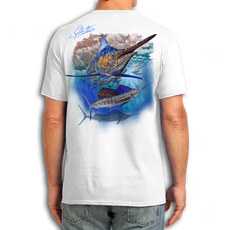 "Back (White) LOOKS AND FEELS JUST LIKE COTTON! This shirt is truly awesome, featuring Jason Mathias's fine art rendition of a lit up Blue Marlin and Sailfish is sure to catch the eye and the fish. fine art design is sublimated onto our super soft cotton feel technology that allows for practical everyday use and activities.   Jason Mathias Cotton Feel short sleeve shirt! Advanced cotton feel technology offers performance qualities in a top quality shirt that looks and fees just like a soft cotton. So comfortable that you feel like you're not even wearing a shirt! Helps keep you cooler and drier which makes it a must when doing what you do best! The Jason Mathias Cotton Feel short sleeve is super comfortable, snag free and practical for everyday activities. This fabric is powered by moisture wicking technology which will keep you cooler in the summer and warmer in the winter.   Jersey knit Moisture wicking and antimicrobial properties Snag resistant Active fit Seamed single-needle 3/4"" collar Double-needle sleeve and bottom hems Quarter-turned to eliminate center crease 5 oz/ 100% poly  Made In America Sizing: Small though 3XL Super jumbo back sublimation art print: 22""x22"""