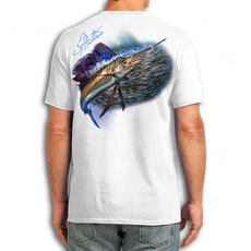"Back (White) LOOKS AND FEELS JUST LIKE COTTON! This shirt is truly awesome, featuring Jason Mathias's fine art rendition of a lit up Sailfish with a huge baitball is sure to catch the eye and the fish. fine art design is sublimated onto our super soft cotton feel technology that allows for practical everyday use and activities.   Jason Mathias Cotton Feel short sleeve shirt! Advanced cotton feel technology offers performance qualities in a top quality shirt that looks and fees just like a soft cotton. So comfortable that you feel like you're not even wearing a shirt! Helps keep you cooler and drier which makes it a must when doing what you do best! The Jason Mathias Cotton Feel short sleeve is super comfortable, snag free and practical for everyday activities. This fabric is powered by moisture wicking technology which will keep you cooler in the summer and warmer in the winter.   Jersey knit Moisture wicking and antimicrobial properties Snag resistant Active fit Seamed single-needle 3/4"" collar Double-needle sleeve and bottom hems Quarter-turned to eliminate center crease 5 oz/ 100% poly  Made In America Sizing: Small though 3XL Super jumbo back sublimation art print: 22""x22"""