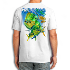"Back (White) LOOKS AND FEELS JUST LIKE COTTON! This shirt is truly awesome, featuring Jason Mathias's fine art rendition of a lit up Mahi Mahi, Dorado or Dolphin is sure to catch the eye and the fish. fine art design is sublimated onto our super soft cotton feel technology that allows for practical everyday use and activities.   Jason Mathias Cotton Feel short sleeve shirt! Advanced cotton feel technology offers performance qualities in a top quality shirt that looks and fees just like a soft cotton. So comfortable that you feel like you're not even wearing a shirt! Helps keep you cooler and drier which makes it a must when doing what you do best! The Jason Mathias Cotton Feel short sleeve is super comfortable, snag free and practical for everyday activities. This fabric is powered by moisture wicking technology which will keep you cooler in the summer and warmer in the winter.   Jersey knit Moisture wicking and antimicrobial properties Snag resistant Active fit Seamed single-needle 3/4"" collar Double-needle sleeve and bottom hems Quarter-turned to eliminate center crease 5 oz/ 100% poly  Made In America Sizing: Small though 3XL Super jumbo back sublimation art print: 22""x22"""