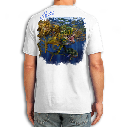 """Back (White) LOOKS AND FEELS JUST LIKE COTTON! This shirt is truly awesome, featuring Jason Mathias's fine art rendition of a lit up Mahi Mahi, Dorado or Dolphin is sure to catch the eye and the fish. fine art design is sublimated onto our super soft cotton feel technology that allows for practical everyday use and activities.   Jason Mathias Cotton Feel short sleeve shirt! Advanced cotton feel technology offers performance qualities in a top quality shirt that looks and fees just like a soft cotton. So comfortable that you feel like you're not even wearing a shirt! Helps keep you cooler and drier which makes it a must when doing what you do best! The Jason Mathias Cotton Feel short sleeve is super comfortable, snag free and practical for everyday activities. This fabric is powered by moisture wicking technology which will keep you cooler in the summer and warmer in the winter.   Jersey knit Moisture wicking and antimicrobial properties Snag resistant Active fit Seamed single-needle 3/4"""" collar Double-needle sleeve and bottom hems Quarter-turned to eliminate center crease 5 oz/ 100% poly  Made In America Sizing: Small though 3XL Super jumbo back sublimation art print: 22""""x22"""""""