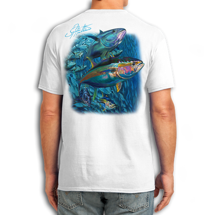 "Back (White) LOOKS AND FEELS JUST LIKE COTTON! This shirt is truly awesome, featuring Jason Mathias's fine art rendition of a giant school of lit up Tunas is sure to catch the eye and the fish. fine art design is sublimated onto our super soft cotton feel technology that allows for practical everyday use and activities.   Jason Mathias Cotton Feel short sleeve shirt! Advanced cotton feel technology offers performance qualities in a top quality shirt that looks and fees just like a soft cotton. So comfortable that you feel like you're not even wearing a shirt! Helps keep you cooler and drier which makes it a must when doing what you do best! The Jason Mathias Cotton Feel short sleeve is super comfortable, snag free and practical for everyday activities. This fabric is powered by moisture wicking technology which will keep you cooler in the summer and warmer in the winter.   Jersey knit Moisture wicking and antimicrobial properties Snag resistant Active fit Seamed single-needle 3/4"" collar Double-needle sleeve and bottom hems Quarter-turned to eliminate center crease 5 oz/ 100% poly  Made In America Sizing: Small though 3XL Super jumbo back sublimation art print: 22""x22"""