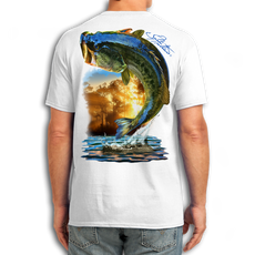 "Back (White) LOOKS AND FEELS JUST LIKE COTTON! This shirt is truly awesome, featuring Jason Mathias's fine art rendition of a huge Largemouth Bass leaping out of the cypress reflective water in pursuit of prey is sure to catch the eye and the fish. fine art design is sublimated onto our super soft cotton feel technology that allows for practical everyday use and activities.   Jason Mathias Cotton Feel short sleeve shirt! Advanced cotton feel technology offers performance qualities in a top quality shirt that looks and fees just like a soft cotton. So comfortable that you feel like you're not even wearing a shirt! Helps keep you cooler and drier which makes it a must when doing what you do best! The Jason Mathias Cotton Feel short sleeve is super comfortable, snag free and practical for everyday activities. This fabric is powered by moisture wicking technology which will keep you cooler in the summer and warmer in the winter.   Jersey knit Moisture wicking and antimicrobial properties Snag resistant Active fit Seamed single-needle 3/4"" collar Double-needle sleeve and bottom hems Quarter-turned to eliminate center crease 5 oz/ 100% poly  Made In America Sizing: Small though 3XL Super jumbo back sublimation art print: 22""x22"""