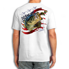 "Back (White) LOOKS AND FEELS JUST LIKE COTTON! This American Flag shirt is for all the patriots out there! Featuring Jason Mathias's fine art rendition of a huge American Largemouth Bass blasting a school of Bluegill is sure to catch the eye and the fish. fine art design is sublimated onto our super soft cotton feel technology that allows for practical everyday use and activities.   Jason Mathias Cotton Feel short sleeve shirt! Advanced cotton feel technology offers performance qualities in a top quality shirt that looks and fees just like a soft cotton. So comfortable that you feel like you're not even wearing a shirt! Helps keep you cooler and drier which makes it a must when doing what you do best! The Jason Mathias Cotton Feel short sleeve is super comfortable, snag free and practical for everyday activities. This fabric is powered by moisture wicking technology which will keep you cooler in the summer and warmer in the winter.   Jersey knit Moisture wicking and antimicrobial properties Snag resistant Active fit Seamed single-needle 3/4"" collar Double-needle sleeve and bottom hems Quarter-turned to eliminate center crease 5 oz/ 100% poly  Made In America Sizing: Small though 3XL Super jumbo back sublimation art print: 22""x22"""