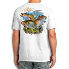 "Back (White) LOOKS AND FEELS JUST LIKE COTTON! This shirt is truly awesome, featuring Jason Mathias's fine art rendition of a Snook, Speckled Trout and Redfish inshore slam is sure to catch the eye and the fish. fine art design is sublimated onto our super soft cotton feel technology that allows for practical everyday use and activities.   Jason Mathias Cotton Feel short sleeve shirt! Advanced cotton feel technology offers performance qualities in a top quality shirt that looks and fees just like a soft cotton. So comfortable that you feel like you're not even wearing a shirt! Helps keep you cooler and drier which makes it a must when doing what you do best! The Jason Mathias Cotton Feel short sleeve is super comfortable, snag free and practical for everyday activities. This fabric is powered by moisture wicking technology which will keep you cooler in the summer and warmer in the winter.   Jersey knit Moisture wicking and antimicrobial properties Snag resistant Active fit Seamed single-needle 3/4"" collar Double-needle sleeve and bottom hems Quarter-turned to eliminate center crease 5 oz/ 100% poly  Made In America Sizing: Small though 3XL Super jumbo back sublimation art print: 22""x22"""