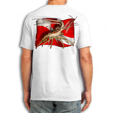 "Back (White) LOOKS AND FEELS JUST LIKE COTTON! This shirt is truly awesome, featuring Jason Mathias's fine art rendition of a Dive Flag framed Lobster is sure to catch the eye and the fish. Fine art design is sublimated onto our super soft cotton feel technology that allows for practical everyday use and activities.   Jason Mathias Cotton Feel short sleeve shirt! Advanced cotton feel technology offers performance qualities in a top quality shirt that looks and fees just like a soft cotton. So comfortable that you feel like you're not even wearing a shirt! Helps keep you cooler and drier which makes it a must when doing what you do best! The Jason Mathias Cotton Feel short sleeve is super comfortable, snag free and practical for everyday activities. This fabric is powered by moisture wicking technology which will keep you cooler in the summer and warmer in the winter.   Jersey knit Moisture wicking and antimicrobial properties Snag resistant Active fit Seamed single-needle 3/4"" collar Double-needle sleeve and bottom hems Quarter-turned to eliminate center crease 5 oz/ 100% poly  Made In America Sizing: Small though 3XL Super jumbo back sublimation art print: 22""x22"""