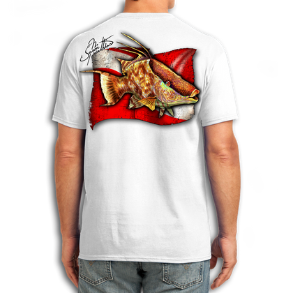 "Back (White) LOOKS AND FEELS JUST LIKE COTTON! This shirt is truly awesome, featuring Jason Mathias's fine art rendition of a Dive Flag framed Hogfish is sure to catch the eye and the fish. Fine art design is sublimated onto our super soft cotton feel technology that allows for practical everyday use and activities.   Jason Mathias Cotton Feel short sleeve shirt! Advanced cotton feel technology offers performance qualities in a top quality shirt that looks and fees just like a soft cotton. So comfortable that you feel like you're not even wearing a shirt! Helps keep you cooler and drier which makes it a must when doing what you do best! The Jason Mathias Cotton Feel short sleeve is super comfortable, snag free and practical for everyday activities. This fabric is powered by moisture wicking technology which will keep you cooler in the summer and warmer in the winter.   Jersey knit Moisture wicking and antimicrobial properties Snag resistant Active fit Seamed single-needle 3/4"" collar Double-needle sleeve and bottom hems Quarter-turned to eliminate center crease 5 oz/ 100% poly  Made In America Sizing: Small though 3XL Super jumbo back sublimation art print: 22""x22"""