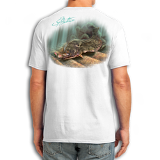 "Back (White) LOOKS AND FEELS JUST LIKE COTTON! This shirt is truly awesome, featuring Jason Mathias's fine art rendition of a Flounder or Fluke ambushing an artificial is sure to catch the eye and the fish. Fine art design is sublimated onto our super soft cotton feel technology that allows for practical everyday use and activities.   Jason Mathias Cotton Feel short sleeve shirt! Advanced cotton feel technology offers performance qualities in a top quality shirt that looks and fees just like a soft cotton. So comfortable that you feel like you're not even wearing a shirt! Helps keep you cooler and drier which makes it a must when doing what you do best! The Jason Mathias Cotton Feel short sleeve is super comfortable, snag free and practical for everyday activities. This fabric is powered by moisture wicking technology which will keep you cooler in the summer and warmer in the winter.   Jersey knit Moisture wicking and antimicrobial properties Snag resistant Active fit Seamed single-needle 3/4"" collar Double-needle sleeve and bottom hems Quarter-turned to eliminate center crease 5 oz/ 100% poly  Made In America Sizing: Small though 3XL Super jumbo back sublimation art print: 22""x22"""