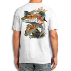 "Back (White) LOOKS AND FEELS JUST LIKE COTTON! This shirt is truly awesome, featuring Jason Mathias's fine art rendition of two Redfish cruising the grass flats is sure to catch the eye and the fish. Fine art design is sublimated onto our super soft cotton feel technology that allows for practical everyday use and activities.   Jason Mathias Cotton Feel short sleeve shirt! Advanced cotton feel technology offers performance qualities in a top quality shirt that looks and fees just like a soft cotton. So comfortable that you feel like you're not even wearing a shirt! Helps keep you cooler and drier which makes it a must when doing what you do best! The Jason Mathias Cotton Feel short sleeve is super comfortable, snag free and practical for everyday activities. This fabric is powered by moisture wicking technology which will keep you cooler in the summer and warmer in the winter.   Jersey knit Moisture wicking and antimicrobial properties Snag resistant Active fit Seamed single-needle 3/4"" collar Double-needle sleeve and bottom hems Quarter-turned to eliminate center crease 5 oz/ 100% poly  Made In America Sizing: Small though 3XL Super jumbo back sublimation art print: 22""x22"""