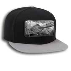 "The Jason Mathias superior cotton twill square flat visor six panel pro style snapback hat with a sewn on art patch is one heck of a hat. The patch features Jason Mathias's ""Running The Gauntlet"" a massive Blue Marlin out maneuvering a big Bull and Tiger Shark."