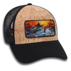"The Jason Mathias 6 panel cork mesh back cap hat with a sewn on art patch is one heck of a hat. The patch features Jason Mathias's ""Reflective Chaos"" a chaotic yet mystically beautiful sunset scene with a massive Blue Marlin exploding over an ocean wave and scattering a school of feeding tunas as frigate birds circle overhead."