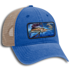 "The Jason Mathias 6 panel garment washed pigment dyed superior cotton twill w/ soft polyester mesh back low profile cap with a sewn on art patch is one heck of a hat. The patch features Jason Mathias's ""Majesty"" a lit up Sailfish working a baitball near the surface."