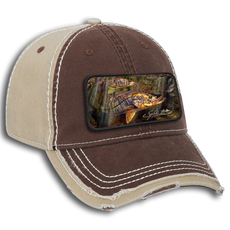 "The Jason Mathias garment washed cotton twill w/ heavy stitching distressed trim edge visor six panel low profile dad hat with a sewn on art patch is one heck of a hat. The patch features Jason Mathias's ""Grove Garden"" a beautiful and accurate rendition of two backwater Snook patrolling a mangrove habitat."