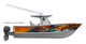 Feeling a little chaotic, then this boat wrap design by Jason Mathias art is just what you need: Featuring a massive Blue Marlin greyhounding after some Tunas over a sunset framed ocean wave and frigate birds.