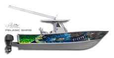If you're an ultimate fishing machine then better make sure your ride looks like one too with this pelagic boat wrap design by Jason Mathias Art: Featuring Marlin, Tunas and Mahi Mahi, Dorado or Dolphin fish.
