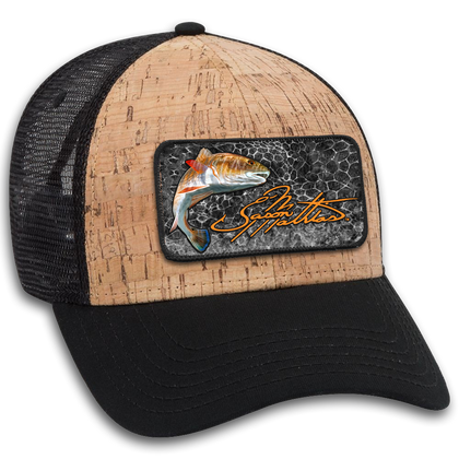 "The Jason Mathias 6 panel cork mesh back cap hat with a sewn on art patch is one heck of a hat. The patch features Jason Mathias's ""Redfish"" an anatomically accurate Redfish illustration with Jason's unique Octacoral pattern as a background."