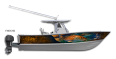 Show off your inside pride with this classic Redfish boat wrap design by Jason Mathias art: Featuring two brilliant Redfish or Red Drum fish patrolling the grass flats.