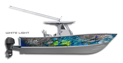 Light up the waters with this blindingly beautiful boat wrap design by Jason Mathias art: Featuring a White Marlin, Baitball, Tunas and Mahi Mahi, Dorado or Dolphin Fish.