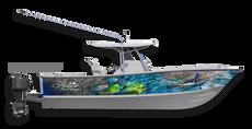 Light up the waters with this blindingly beautiful boat wrap design by Jason Mathias art: Featuring a White Marlin, Baitball, Tunas and Mahi Mahi, Dorado or Dolphin Fish.