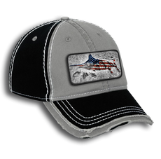 "Looking to express your patriotic love of country and big game fishing? Then the Jason Mathias garment washed cotton twill w/ heavy stitching distressed trim edge visor six panel low profile dad hat with a sewn on art patch is the perfect hat for you. The patch features Jason Mathias's ""Blue Mirage"" a massive Blue Marlin morphing into the American Flag while chasing a school of Tuna!"