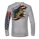 This American Flag shirt is for all the patriots out there! Featuring Jason Mathias's fine art rendition of a huge American Largemouth Bass blasting a school of Bluegill is sure to catch the eye and the fish. Fine art design is sublimated onto our superior technology that definitely makes for a top favorite among all anglers and outdoor enthusiast world wide!