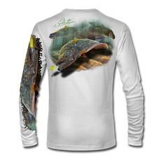 "(White) This shirt is truly awesome, featuring Jason Mathias's ""Flatfish"" A Flounder or Fluke ambushing an artificial bait. Fine art design is sublimated onto our superior technology that definitely makes for a top favorite among all anglers and outdoor enthusiast world wide!"