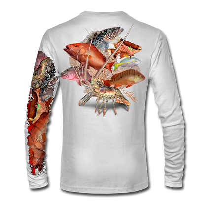 """Back view white This shirt is truly awesome, featuring Jason Mathias's """"Reef Slam"""" fine art design sublimated onto our superior technology that definitely makes for a top favorite among all divers, freedivers and outdoor enthusiast world wide! Grouper, mutton snapper, lobster, hogfish, red snapper, mangrove snapper, yellowtail snapper."""