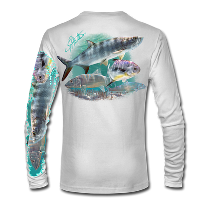 """White back view This shirt is truly awesome, featuring Jason Mathias's """"Flats Slam"""" which portrays the powerful silver king, elusive bonefish, and highly sought after permit stalking the flats sublimated onto our superior technology that definitely makes for a top favorite among all anglers, fly fisherman and outdoor enthusiast world wide!"""