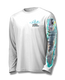 """White front view This shirt is truly awesome, featuring Jason Mathias's """"Flats Slam"""" which portrays the powerful silver king, elusive bonefish, and highly sought after permit stalking the flats sublimated onto our superior technology that definitely makes for a top favorite among all anglers, fly fisherman and outdoor enthusiast world wide!"""