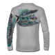 """Grey This shirt is truly awesome, featuring Jason Mathias's """"Flats Slam"""" which portrays the powerful silver king, elusive bonefish, and highly sought after permit stalking the flats sublimated onto our superior technology that definitely makes for a top favorite among all anglers, fly fisherman and outdoor enthusiast world wide!"""