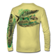 """Pale yellow This shirt is truly awesome, featuring Jason Mathias's """"Flats Slam"""" which portrays the powerful silver king, elusive bonefish, and highly sought after permit stalking the flats sublimated onto our superior technology that definitely makes for a top favorite among all anglers, fly fisherman and outdoor enthusiast world wide!"""
