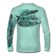 """Seagrass green This shirt is truly awesome, featuring Jason Mathias's """"Flats Slam"""" which portrays the powerful silver king, elusive bonefish, and highly sought after permit stalking the flats sublimated onto our superior technology that definitely makes for a top favorite among all anglers, fly fisherman and outdoor enthusiast world wide!"""