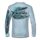 """Arctic Blue This shirt is truly awesome, featuring Jason Mathias's """"Flats Slam"""" which portrays the powerful silver king, elusive bonefish, and highly sought after permit stalking the flats sublimated onto our superior technology that definitely makes for a top favorite among all anglers, fly fisherman and outdoor enthusiast world wide!"""