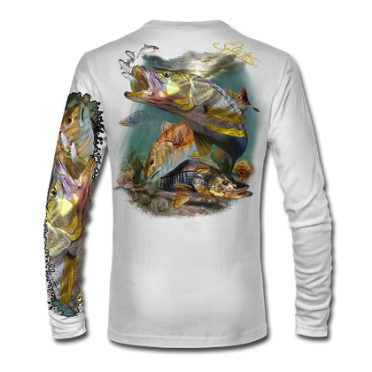"""White back view This shirt is truly awesome, featuring Jason Mathias's """"Inshore Redfish and Snook""""  fine art design sublimated onto our superior technology that definitely makes for a top favorite among all anglers and outdoor enthusiast world wide!"""