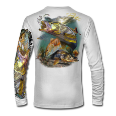 "White back view This shirt is truly awesome, featuring Jason Mathias's ""Inshore Redfish and Snook""  fine art design sublimated onto our superior technology that definitely makes for a top favorite among all anglers and outdoor enthusiast world wide!"