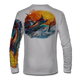 "Grey This shirt is truly awesome, featuring Jason Mathias's ""Jumping Marlin""portrays a chaotic yet mystically beautiful sunset scene with a massive Blue Marlin exploding over an ocean wave and scattering a school of feeding tunas as frigate birds circle overhead  sublimated onto our superior technology that definitely makes for a top favorite among all anglers and outdoor enthusiast world wide!"