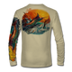 "Tan This shirt is truly awesome, featuring Jason Mathias's ""Jumping Marlin""portrays a chaotic yet mystically beautiful sunset scene with a massive Blue Marlin exploding over an ocean wave and scattering a school of feeding tunas as frigate birds circle overhead  sublimated onto our superior technology that definitely makes for a top favorite among all anglers and outdoor enthusiast world wide!"