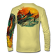 "Pale Yellow This shirt is truly awesome, featuring Jason Mathias's ""Jumping Marlin""portrays a chaotic yet mystically beautiful sunset scene with a massive Blue Marlin exploding over an ocean wave and scattering a school of feeding tunas as frigate birds circle overhead  sublimated onto our superior technology that definitely makes for a top favorite among all anglers and outdoor enthusiast world wide!"