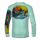 "Seagrass Green This shirt is truly awesome, featuring Jason Mathias's ""Jumping Marlin""portrays a chaotic yet mystically beautiful sunset scene with a massive Blue Marlin exploding over an ocean wave and scattering a school of feeding tunas as frigate birds circle overhead  sublimated onto our superior technology that definitely makes for a top favorite among all anglers and outdoor enthusiast world wide!"