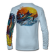 "Arctic Blue This shirt is truly awesome, featuring Jason Mathias's ""Jumping Marlin""portrays a chaotic yet mystically beautiful sunset scene with a massive Blue Marlin exploding over an ocean wave and scattering a school of feeding tunas as frigate birds circle overhead  sublimated onto our superior technology that definitely makes for a top favorite among all anglers and outdoor enthusiast world wide!"