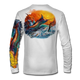 "White back view This shirt is truly awesome, featuring Jason Mathias's ""Jumping Marlin""portrays a chaotic yet mystically beautiful sunset scene with a massive Blue Marlin exploding over an ocean wave and scattering a school of feeding tunas as frigate birds circle overhead  sublimated onto our superior technology that definitely makes for a top favorite among all anglers and outdoor enthusiast world wide!"
