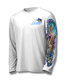 "White front view This shirt is truly awesome, featuring Jason Mathias's ""Offshore Slam"" which portrays a Sailfish, mahi, tunas, and a blue marlin corralling a giant bait ball! This fine art design is sublimated onto our superior technology that definitely makes for a top favorite among all anglers and outdoor enthusiast world wide!"