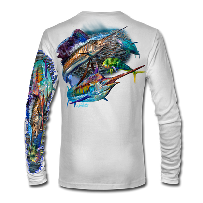 "White back view This shirt is truly awesome, featuring Jason Mathias's ""Offshore Slam"" which portrays a Sailfish, mahi, tunas, and a blue marlin corralling a giant bait ball! This fine art design is sublimated onto our superior technology that definitely makes for a top favorite among all anglers and outdoor enthusiast world wide!"