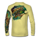 "Yellow This shirt is truly awesome, featuring Jason Mathias's ""Offshore Slam"" which portrays a Sailfish, mahi, tunas, and a blue marlin corralling a giant bait ball! This fine art design is sublimated onto our superior technology that definitely makes for a top favorite among all anglers and outdoor enthusiast world wide!"